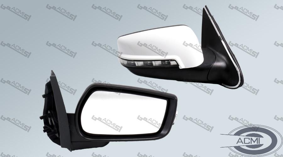 آینه جانبی پژو پارس راهنمادار سوکت جدید (فلاپ سفید)